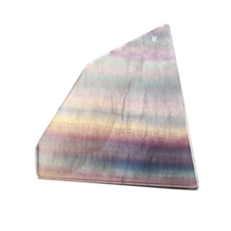 A cut and polished rainbow fluorite slab with pastel blue, purple, and green banding against a white background